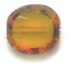 Glass Cut Bead Flat Oval 10/9mm Strung- Transparent Yellow